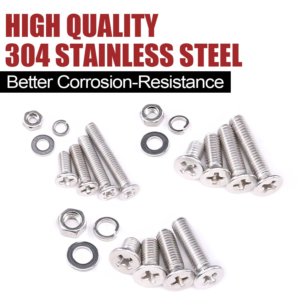 304 Stainless Steel Full Thread 8 to 20mm Length Hilitchi 705-Pcs M3 M4 M5 Phillips Flat Head Machine Screws Bolts Nuts Flat and Lock Washers Assortment Kit