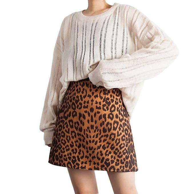 e089c48143 Amazon.com: Forart Womens Leopard Print Denim A-Line Short Pencil Skirt  Dress: Clothing