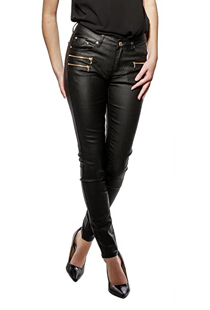 f7047e7384bb Sexy Womens Skinny Jeans Trousers Leather Look Black Sizes UK 6 8 10 12 14 (