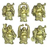 Christmas Characteristic Gift Decoration Laughing Buddha Figurines Lucky Happy Buddha Statue-Set of 6 (3.5''brass)