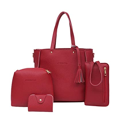 Amazon.com  Clearance Sale! Women Four Set Handbag Shoulder Bags Tote Bag  Wallet Bags ❤ ZYEE  ZYEE🌸🎈Big discount for summer new 🎈🌸 365a8ef2fac96