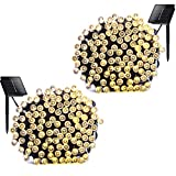 Solar String Lights 72ft 200 LED Fairy String Lights - Ambiance lighting for Outdoor - Patio - Lawn - Fairy Garden - Home - Wedding - Holiday - Christmas Party - Xmas Tree - waterproof (Warm White 2 Pack)