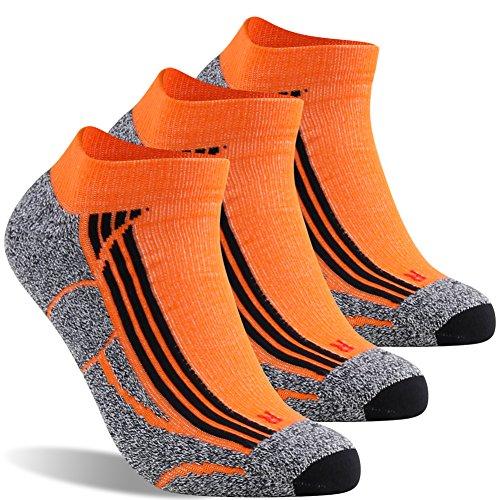 LANDUNCIAGA Men Orange Socks Stylish Running Workout Cycling Training Unisex Low Cut Performance Moisture Befit Compression Socks Lightweight No Show Crossfit Socks Guys Halloween Gifts,Medium,3 Pairs