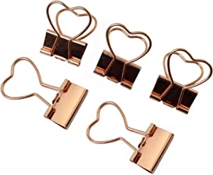 Batino 12pcs Binder Clips Rose Gold Paper Notes Letters Clips Love Heart Style Page Marker Clip Creative Cute Home Office School Supplies