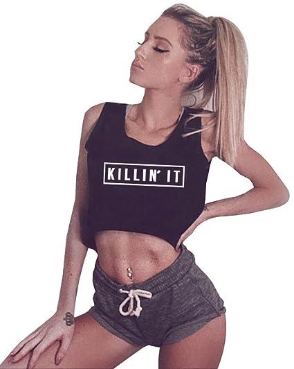 Yitan Women Graphic Sleeveless Tank Crop Top Teen Girls Cute Gym Tee Shirt Black Small