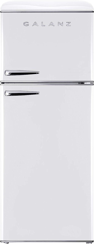 Galanz GLR12TWEEFR Refrigerator, Dual Door Fridge, Adjustable Electrical Thermostat Control with Top Mount Freezer Compartment, Retro White, 12.0 Cu Ft