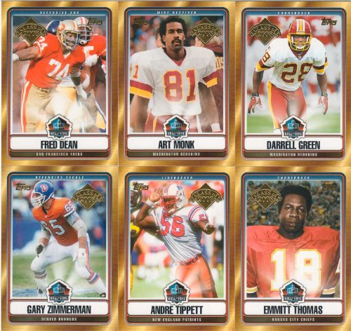 """2008 Topps Football """"Theatre of Fame Tribute"""" complete mint 6 card insert set. Includes the 6 members of the """"Class of 2008"""", Art Monk Redskins), Darrell Unripe (Redskins), Andre Tippett (Patriots), Emmitt Thomas (Chiefs), Gary Zimmerman (Broncos) and Fre"""