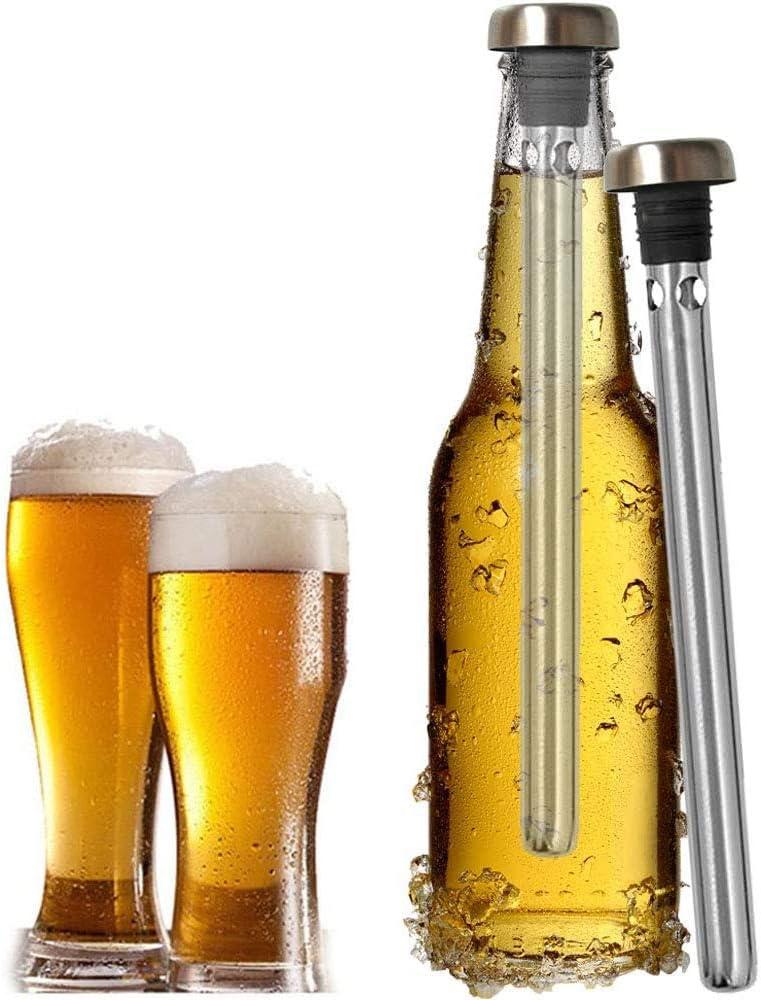 YFOX Enfriador de Cerveza de 2 Piezas,Varilla de Enfriador de Bebidas de Acero Inoxidable, Mantiene frías Las Bebidas embotelladas,se Utiliza en Bares,campamentos de Fiesta
