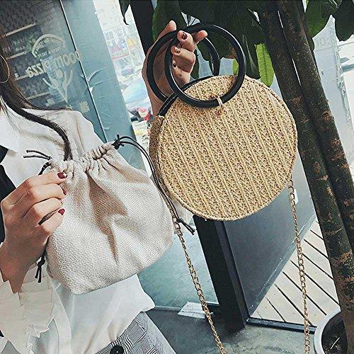 Round Handbags woven Crossbody Black Beige With Bag amp;Women Shoulder Bag Straw Straps Pawaca Summer Beach Chain Girls Hand FWP1pHp