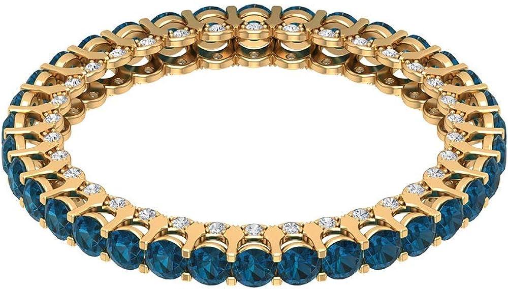 Anillo de compromiso con topacio azul certificado de 1,70 ct, diamante de 1/4 ct, anillo de boda, anillo de novia de piedra preciosa antigua, anillo de eternidad para ella, 14K Oro