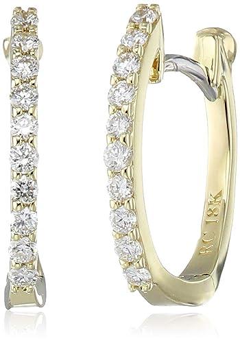 564c548ce35370 Amazon.com: Roberto Coin Women's Baby Diamond Hoop Earrings, Yellow ...