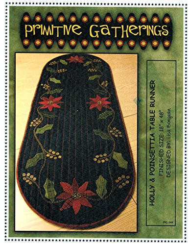 - Holly & Poinsettia Table Runner Felted Wool Pattern - 18