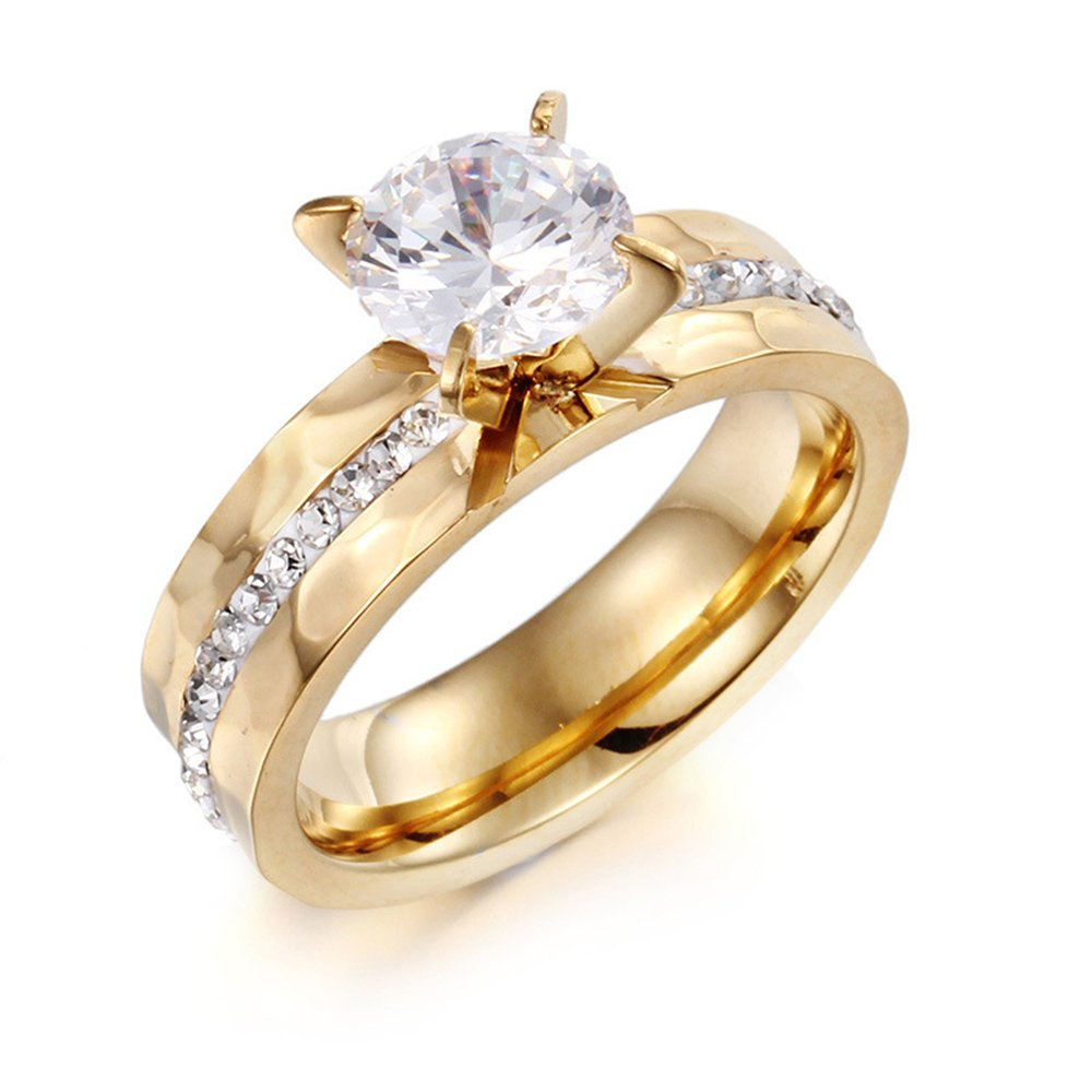 18k Gold Stainless Steel Plated 6mm for Women Wedding Band Ring Lover Holiday Gift Big Cubic Zircon Inlay Size 7