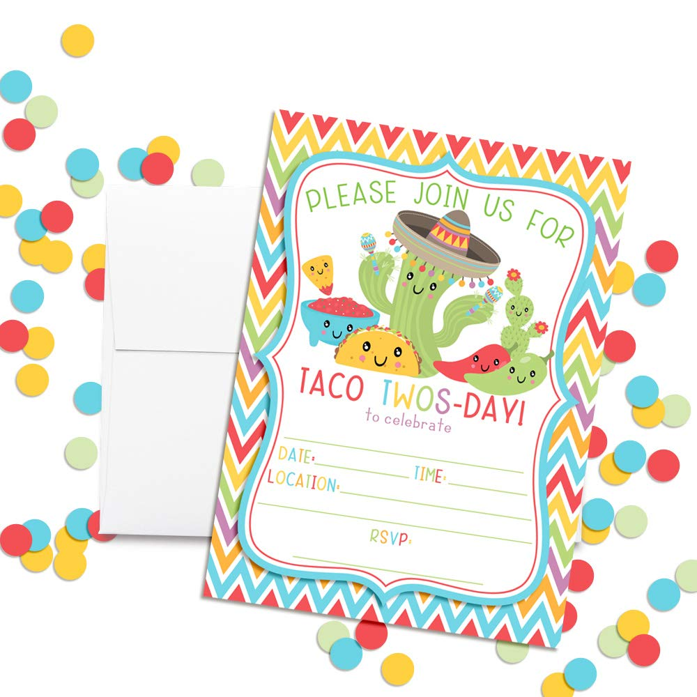 Taco TWOS-Day Adorable 2nd Birthday Fiesta Party Invitations 20 5x7 Fill in Cards with Twenty White Envelopes by AmandaCreation