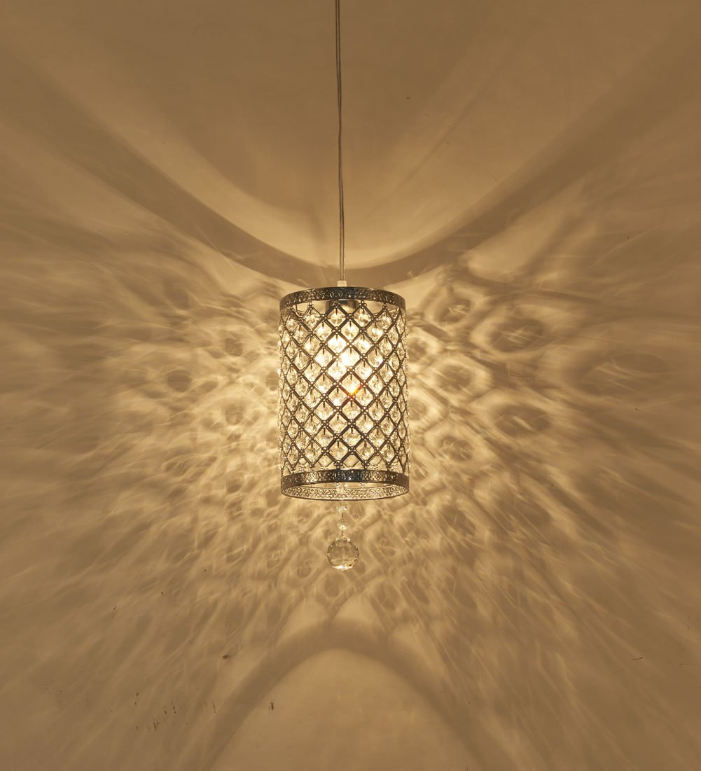 Surpars House Plug in Pendant Light Silver Crystal Chandelier with 17' Cord and On/off Switch in Line by Surpars House (Image #2)