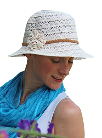 4020047d48663 Summer Hat for Women Cancer Headwear Lace Cloche Small Heads ...