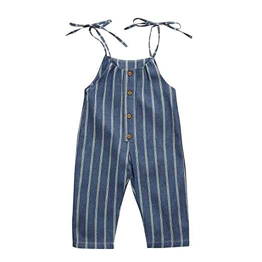 74e43e95425 Dinlong Toddler Baby Girls Summer Clothes Sleeveless Striped Romper Jumpsuit  Trousers Outfits (0-6