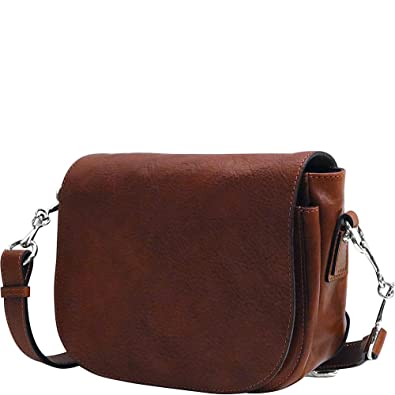 2d48077edc11 Image Unavailable. Image not available for. Color  Floto Women s Roma Saddle  Bag in Brown Italian Calfskin Leather - Handbag Shoulder Bag