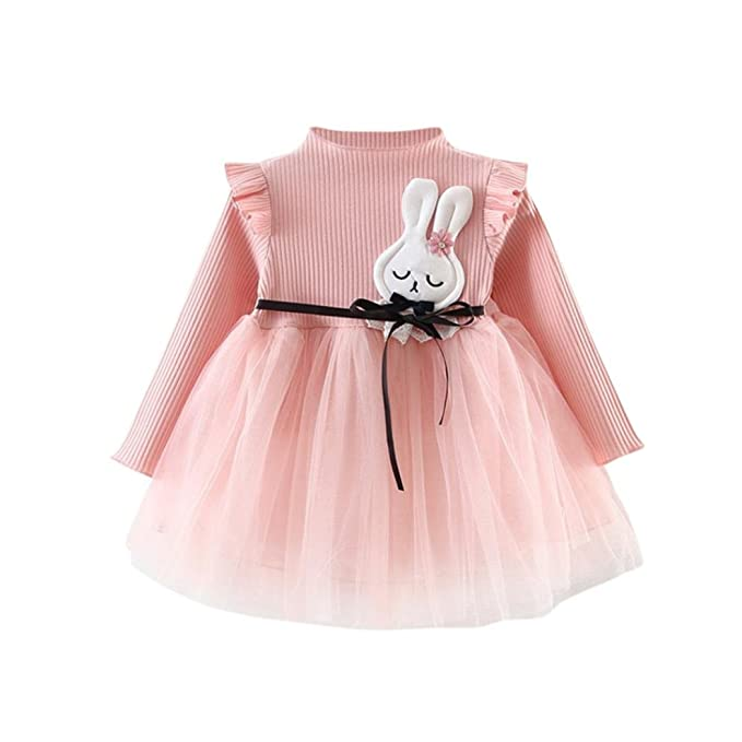 e87343a0e Amazon.com: ❤️Baby Dress,Hot New Fashion 2018 Neartime Cute Beautiful Newborn  Baby Girls Infant Toddle Children Long Sleeve Bunny Splice Dress Yarn Tutu  ...