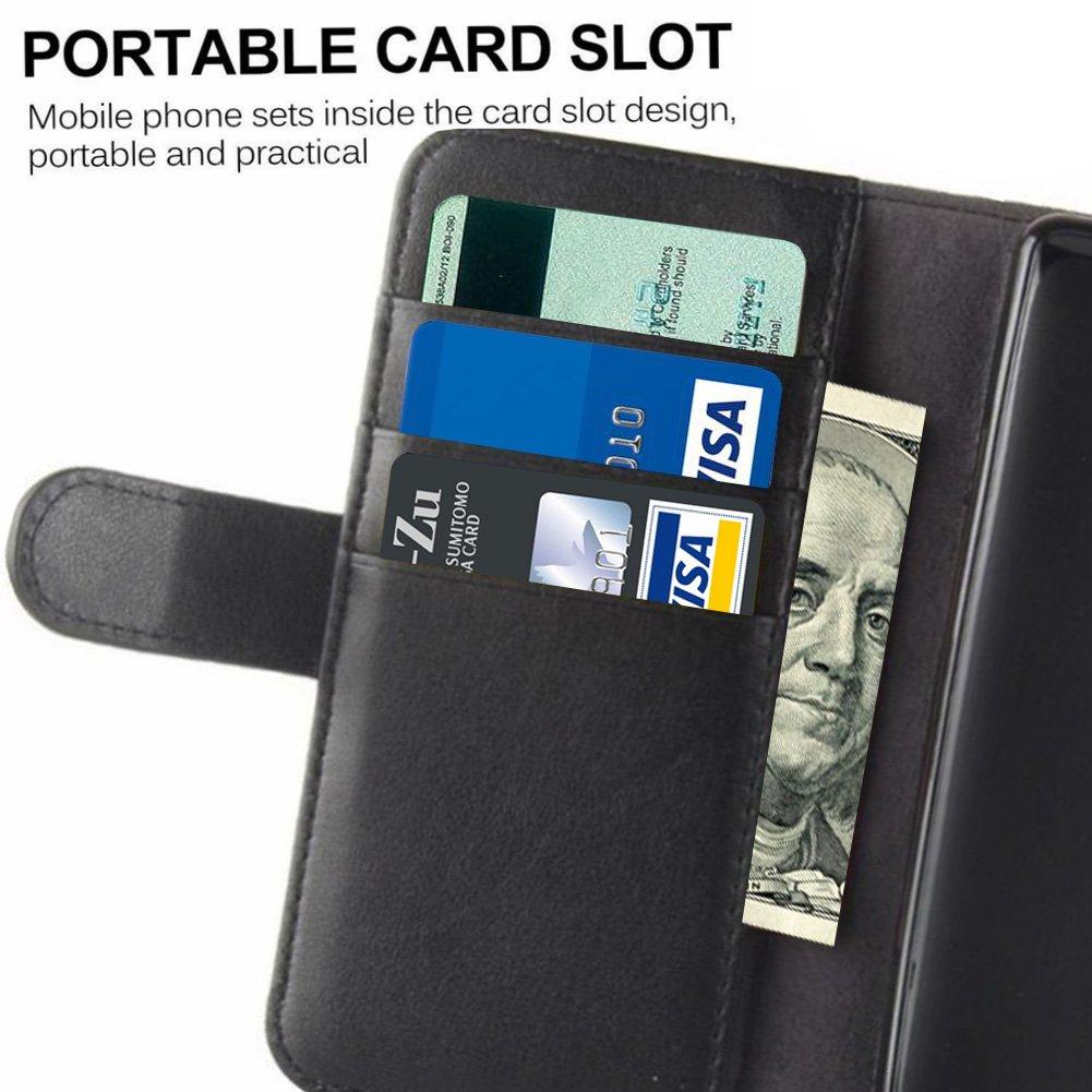 Samsung Galaxy S9 Plus Wallet Case Waterproof, PRODELI Slim Genuine Leather Folio Flip Phone Case Cover Protective Pouch [Magnetic Clasp Closure] [ID Card & Cash Slot] [Folding Kickstand] (Black)