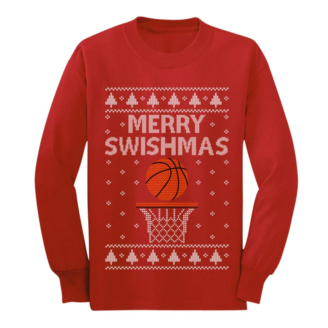 Merry Swishmas Basketball Christmas Ugly Sweater Youth Kids Long Sleeve T-Shirt GaMPaPMgCm