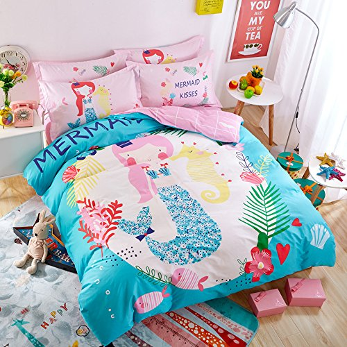 TheFit Paisley Textile Bedding for Adult U962 Pink Mermaid Kisses Duvet Cover Set 100% Cotton, Twin Queen Set, 3-4 Pieces (Queen)