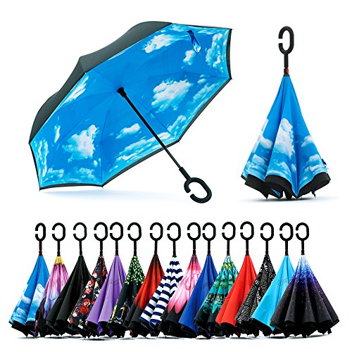 Spar. Saa Double Layer Inverted Umbrella with C-Shaped Handle, Anti-UV Waterproof Windproof Straight Umbrella for Car Rain Outdoor Use (New Kids On The Block Jersey)