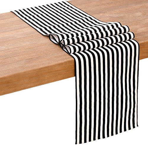Ling's moment Classical Black and White Striped Table Runner, Small 1/2