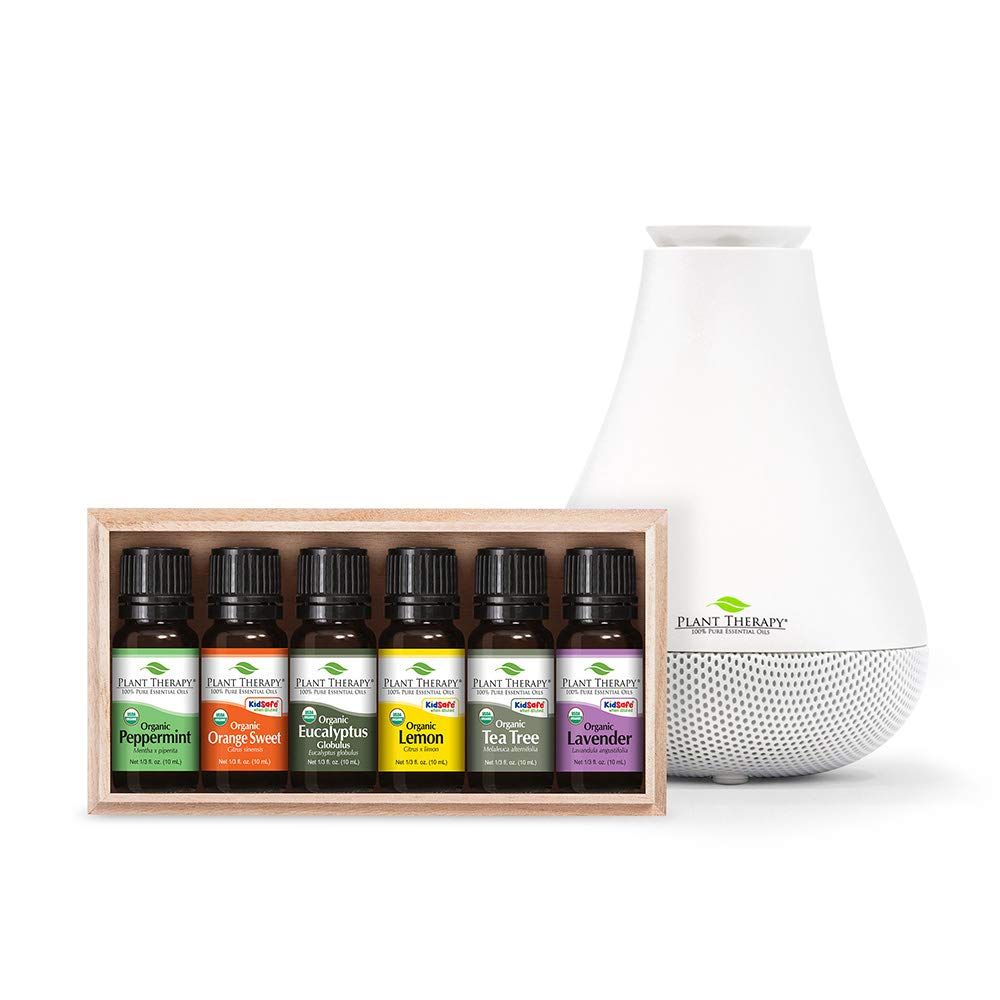 Plant Therapy Top 6 Organic Essential Oils Set with White NovaFuse Diffuser 100% Pure, Undiluted, Therapeutic Grade Essential Oils by Plant Therapy