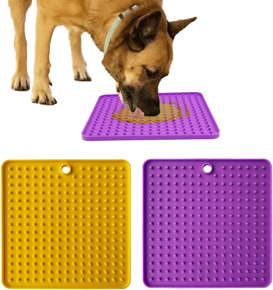 GNB PET 2 Pack Licking Mat for Dogs and Cats, Silicone Dog Lick Mat Slow Feeder Dog Bowls, Calming Mat for Anxiety Relief, Pet Boredom Buster, Perfect for Dog Food, Cat Food