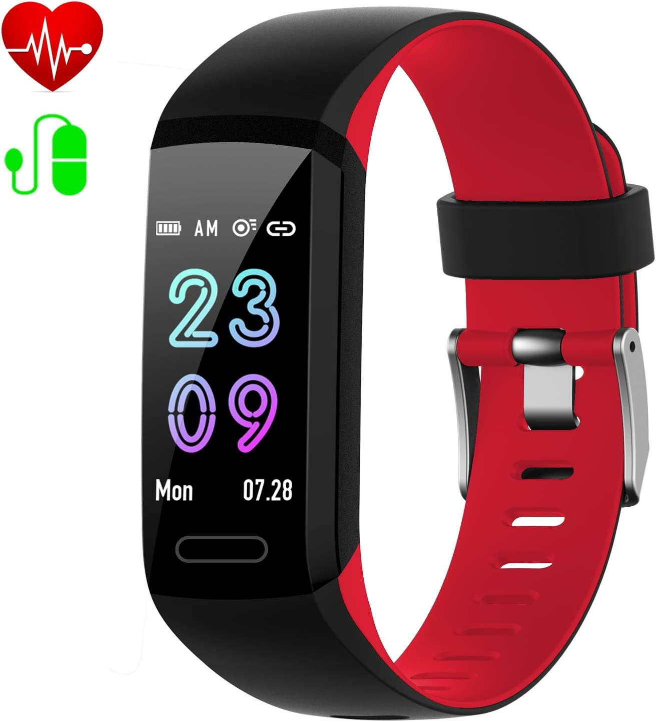 Fitness Tracker, Activity Tracker with Heart Rate Blood Pressure Sleep Monitor,IP67 Waterproof 2019 Version Android iOS Smart Watch,Pedometer Calorie Counter,Call SMS Reminder for Kids Women Men