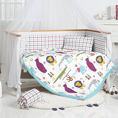 i-Baby 9 Piece Nursery Crib Bedding Set for Newborn Baby Infant Crib Sheet Duvet Pillow Bumper Cot and 100% Cotton Printed Cover (Multi) from i-baby