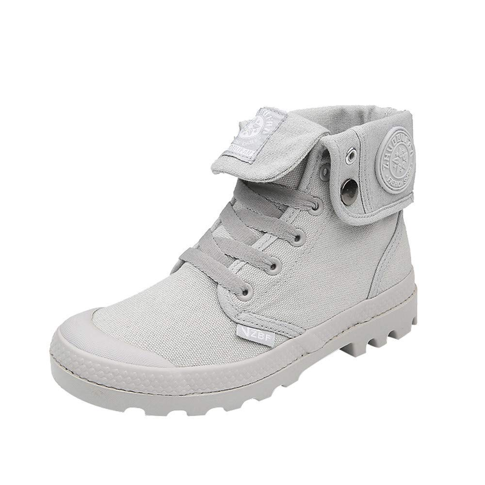 Fashion Women Flat Lace-Up High-top Military Knuckle Casual Daily Students Stylish Hipster Solid Color Wild Comfort Canvas Ladies Shoes