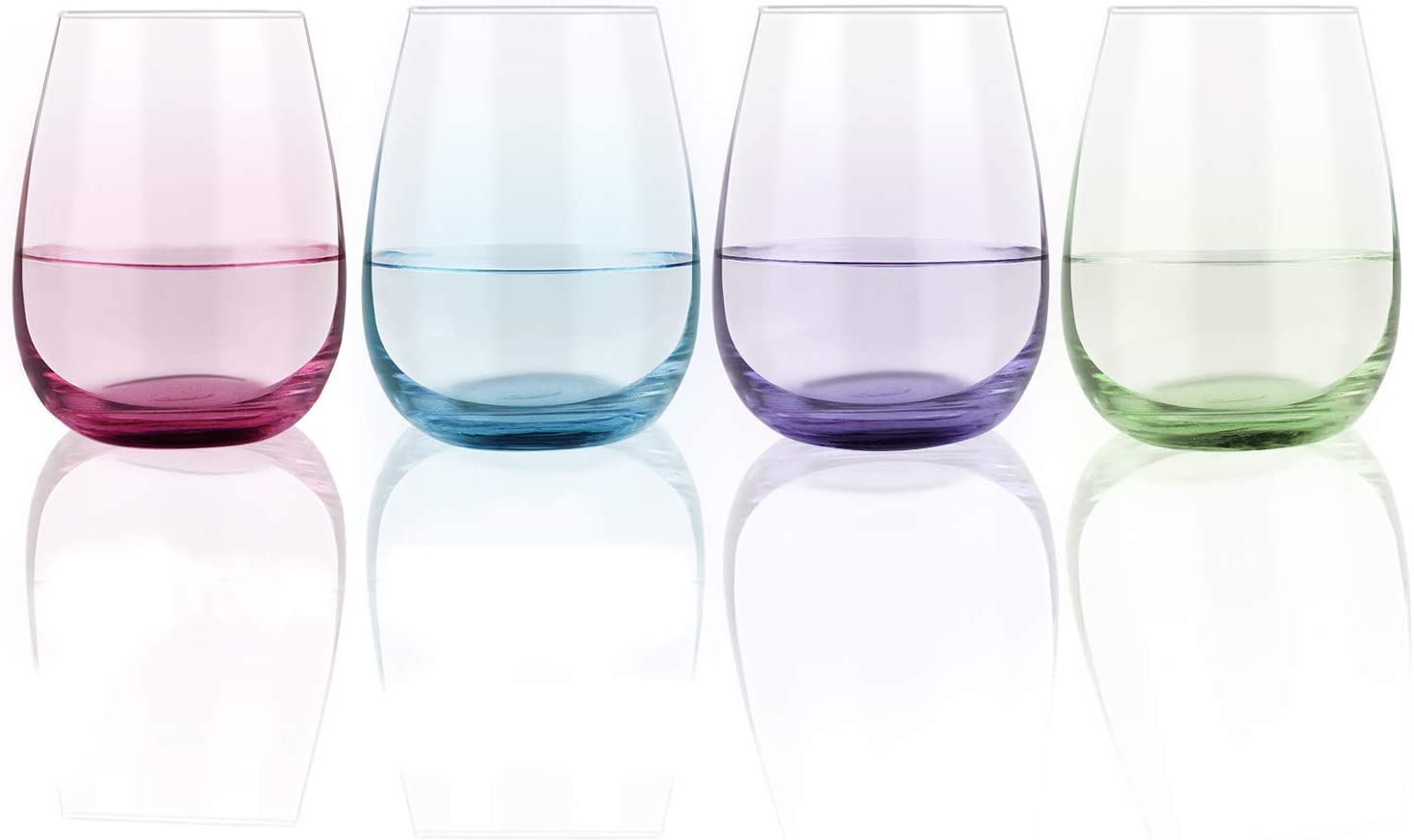 Set of 4 Colorful Stemless Wine Glasses, Colored Wine Glass 15Oz for Red and White Wine Cocktail Water Coffee Tea - Great Gift for Birthday Wedding Engagement Christmas (Blue, Purple, Green, Rose Red)