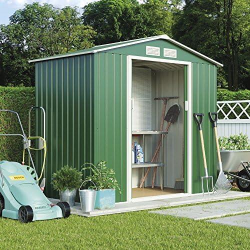 Metal caseta de jardín pequeña para exteriores de almacenamiento con puertas correderas, rampa y libre Kit de base, resistente a la intemperie Apex techo por Walton (7 x 4.2, Verde Oscuro): Amazon.es: