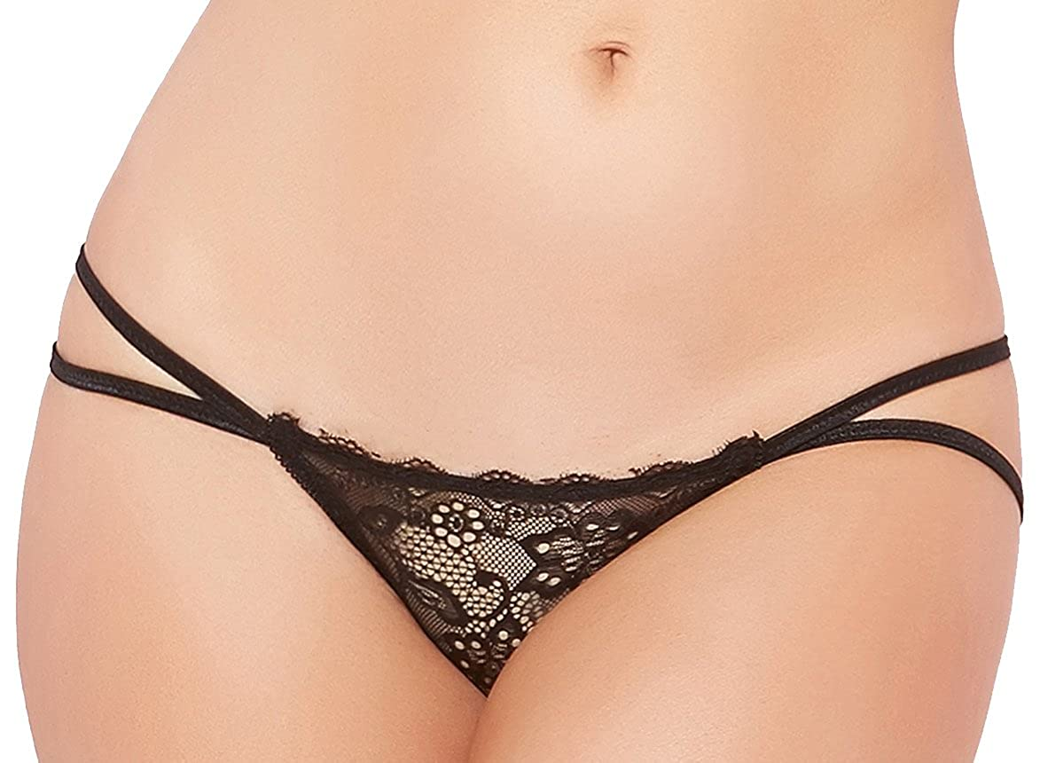 Seven til Midnight Womens Strappy Lace Open Back Panty