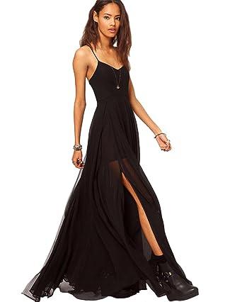 Maxi chiffon dress black