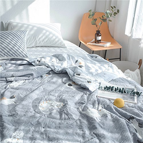 KFZ Summer Quilt Washed Cotton Comforter for Bed Set No Pillow Covers WN Twin Full Queen Princess Cute Cat Dog Animals Design for Kids Adult One Piece (Cat Talking,Grey, Twin, 59''x78'') by KFZ