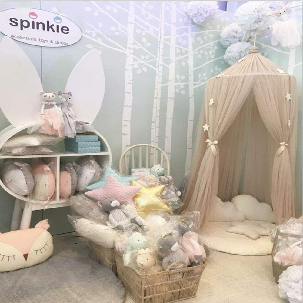 Mosquito Net Kids' Bed Canopies Play Tent Bedding Kids Playing Reading Children Tent Mosquito net Children's Hanging Bed Curtain@Khaki_Monochrome 50 Pieces