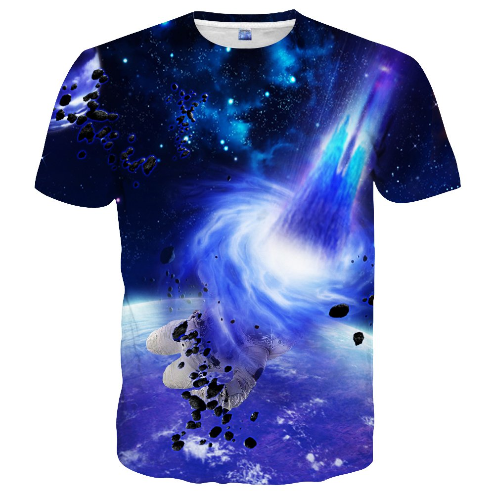 Neemanndy Unisex Young Teen Girls & Boys Short Sleeve Round Neck Space Print Tshirt Tee, X-Large