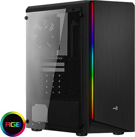 Aerocool Rift - Caja de ordenador (panel lateral acrílico, LED RGB ...