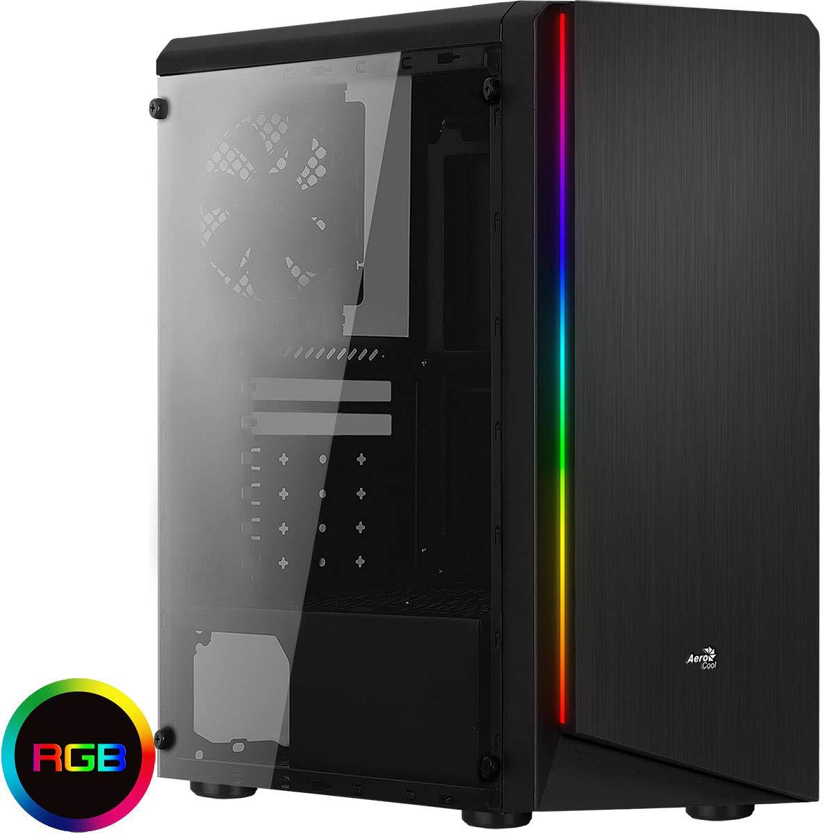 Aerocool Rift - Caja de Ordenador (Panel Lateral acrílico, LED RGB en Panel Frontal, 13 Modos de iluminación, Ventilador Trasero 12 cm, USB 3.0) Color ...