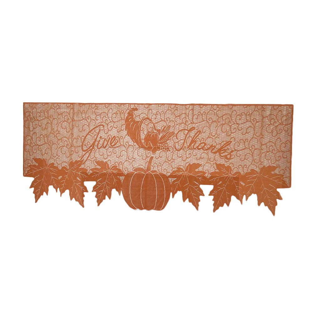 lotus.flower Fall Thanksgiving Halloween Decorations,Pumpkin Lace Fireplace Mantle Scarf Cover, Bats Fireplace Scarf Runner Home Festival Party Supplies (Orange)