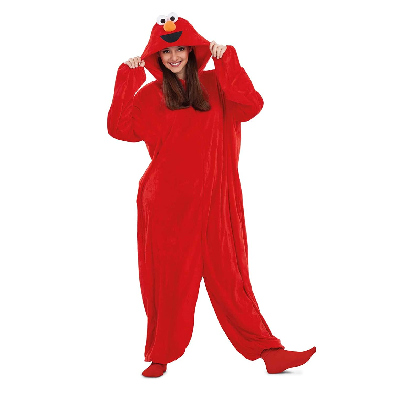 Barrio Sésamo Disfraz Pijama de Elmo para Adultos: Amazon.es ...