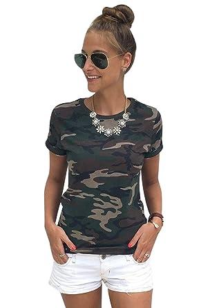 T Shirt Damen Rundhals T Shirts Kurzarm Oversize Frauen Sommer Lockere T-Shirt  Oberteil Sommershirt 9420f38e81