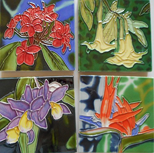 Tile craft set of four tropical tile flower coasters 4x4 inches with easel backs
