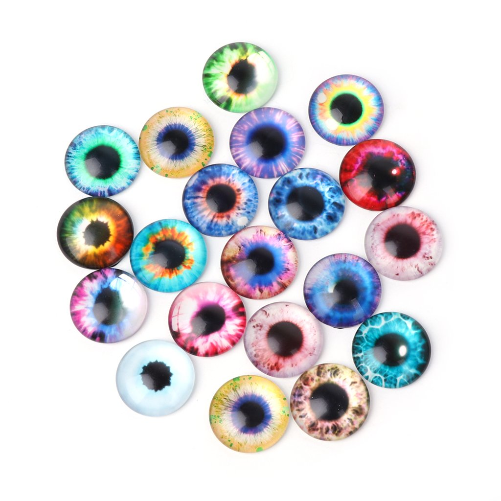 Yeahii 20Pcs Glass Dolls Eye DIY Handcraft Animal Eyes Jewelry Accessories 10/16/20mm (16mm)