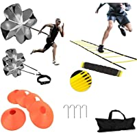 XINXIANG Speed AgilityTraining Kit-Includes Agility Ladder, 5 Round Training Cones,Resistance Parachute, 4 metal Stakes…