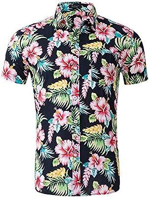 Camisa hawaiana de los hombres Camisa hawaiana de manga corta para hombre Camisa playera de vacaciones de verano Camisa casual con cuello abotonado Camisa con cuello redondo y corte regular Camiseta d: