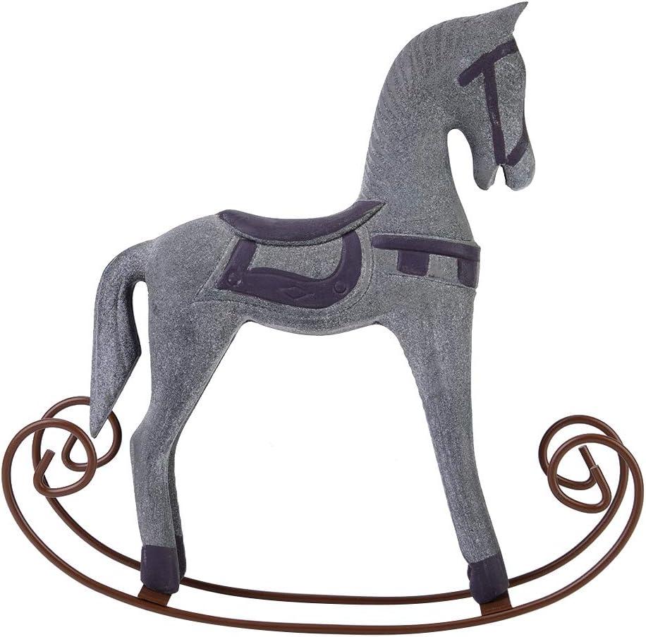 HelloCreate - Caballo balancín hecho a mano de madera tallado pintado para niños, juguete de regalo para decoración de mesa (blanco) ç°è‰2